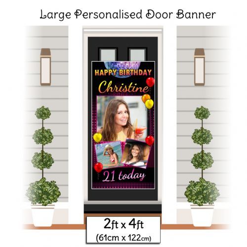 Personalised Happy Birthday Door PHOTO Banner Poster ~ Disco Fever N21